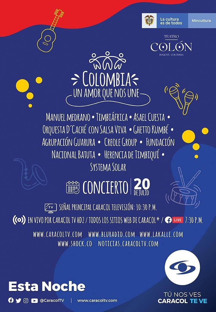 """Caracol Televisión presentará el Gran Concierto Nacional """"Colombia, un amor que nos une"""", este 20 julio"""