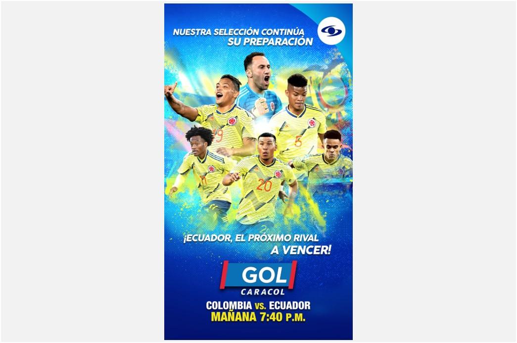 Colombia vs. Ecuador, por el Gol Caracol